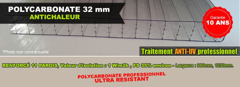 polycarbonate 32mm antichaleur